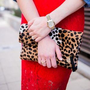 Clare V. leopard print foldover clutch